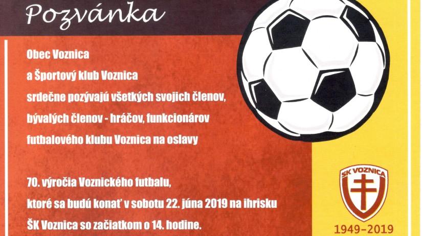 Pozvánka - 70. výročie Voznického futbalu